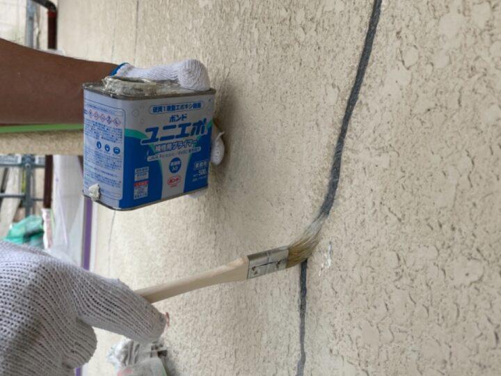 外壁クラック補修/プライマー塗布