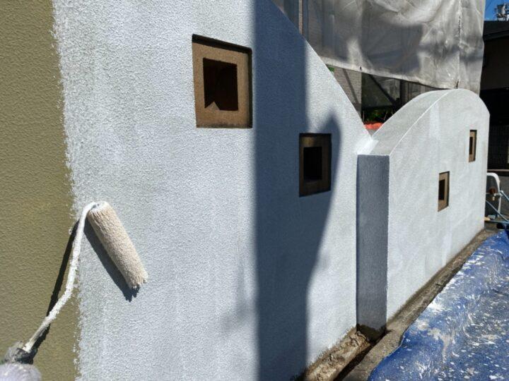 擁壁塗装/下塗り2回目